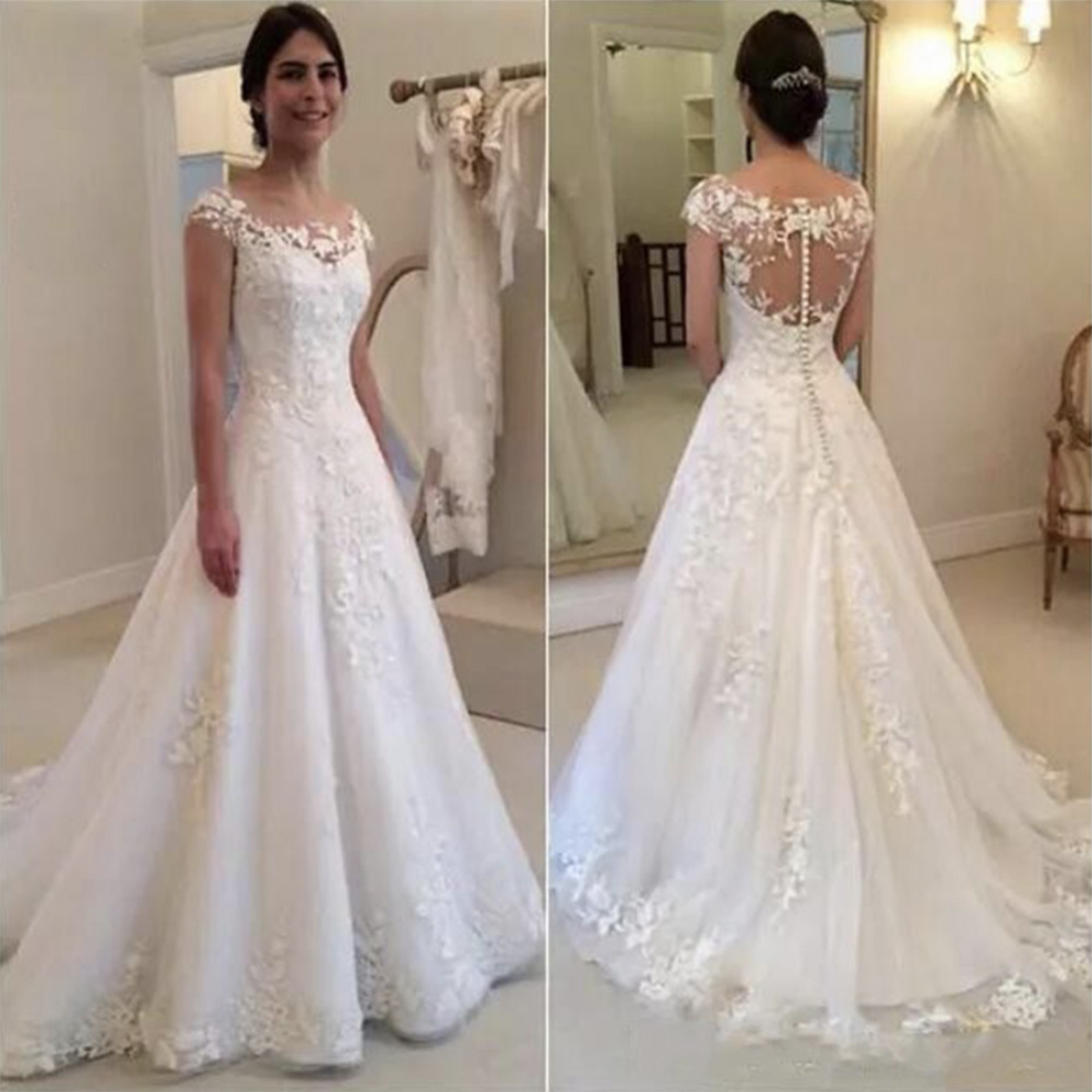 Fansmile Vestido De Noiva Cap Sleeves O-Neck Lace Mermaid Wedding Dress 2020 See Through Zipper Button Back Bridal Gown FSM-030M