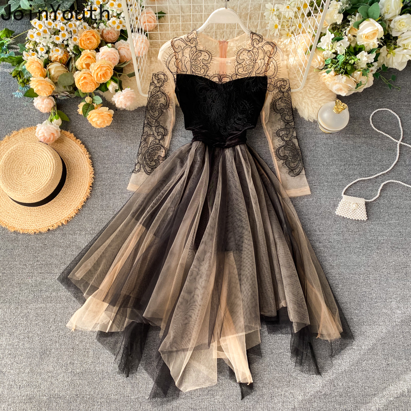 Joinyouth Korean Patchwork Women Evening Party Dress Lace Embroidery Elegant Midi Vestidos Irregular Mesh A-line Dresses 57617