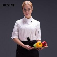 سترة مطبخ للطهاة والطعام سترة بنمط موحد لفندق أبيض مناسبة للصيف سترة مطبخ للنساء
