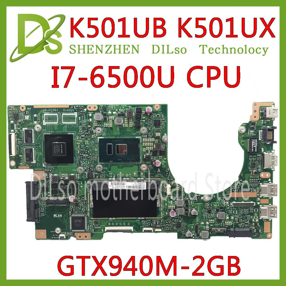 KEFU K501UB For ASUS K501UX K501UB K501UW Laptop Motherboard K501UB Mainboard I7-6500U CPU With GTX940M-2GB Graphics Card Test