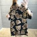 Oversized Cute Kawaii T Shirt Unisex Long Streetwear Hip Hop Woman Tshirt Cartoon Bear Print Summer Tops Fashion Ladies T-shirt