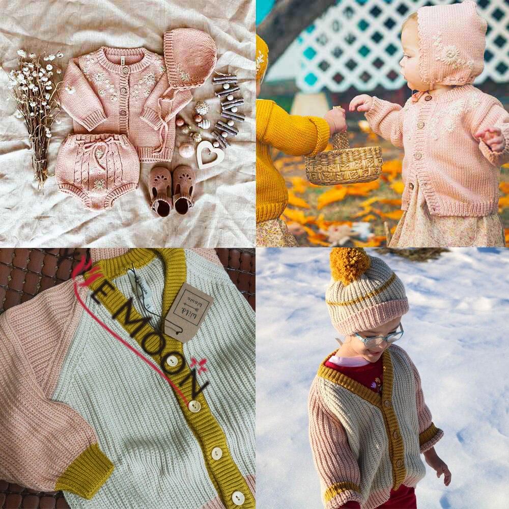 Зимние Детские свитера для маленьких мальчиков и девочек с милым цветком, вязаный кардиган с вышивкой, хлопковая верхняя одежда для малышей...