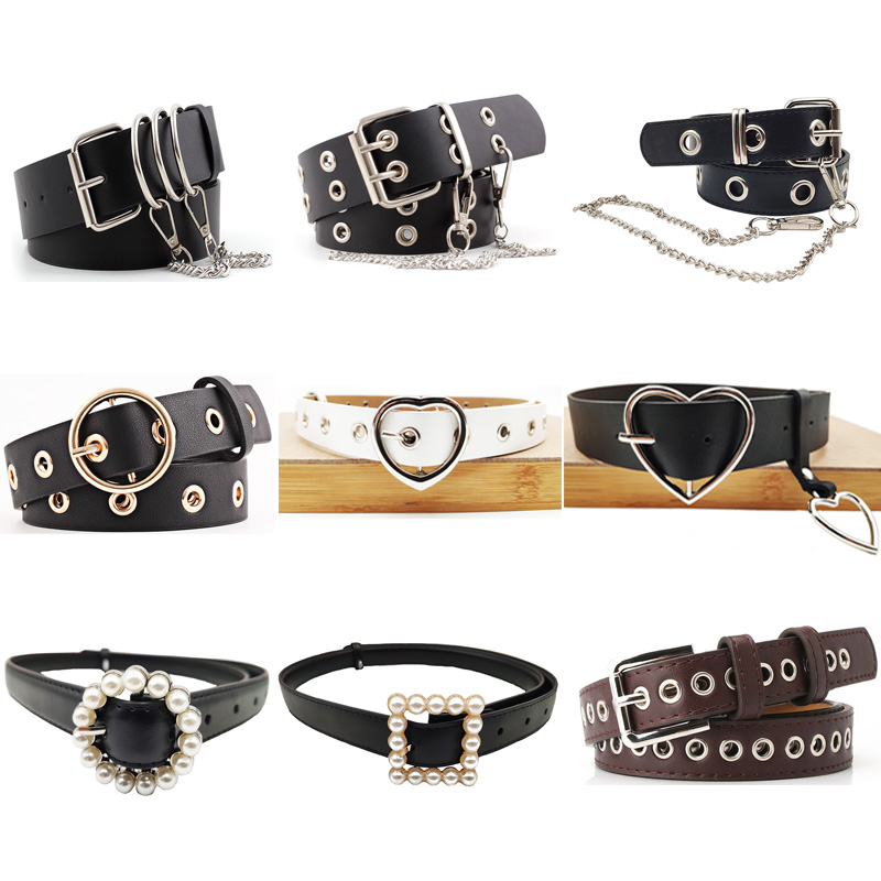 BLA 2020 New Women's Punk Chain Belt Unisex Single And Double Hole Faux Leather Alloy Belt Personality Wild Decorative Belts