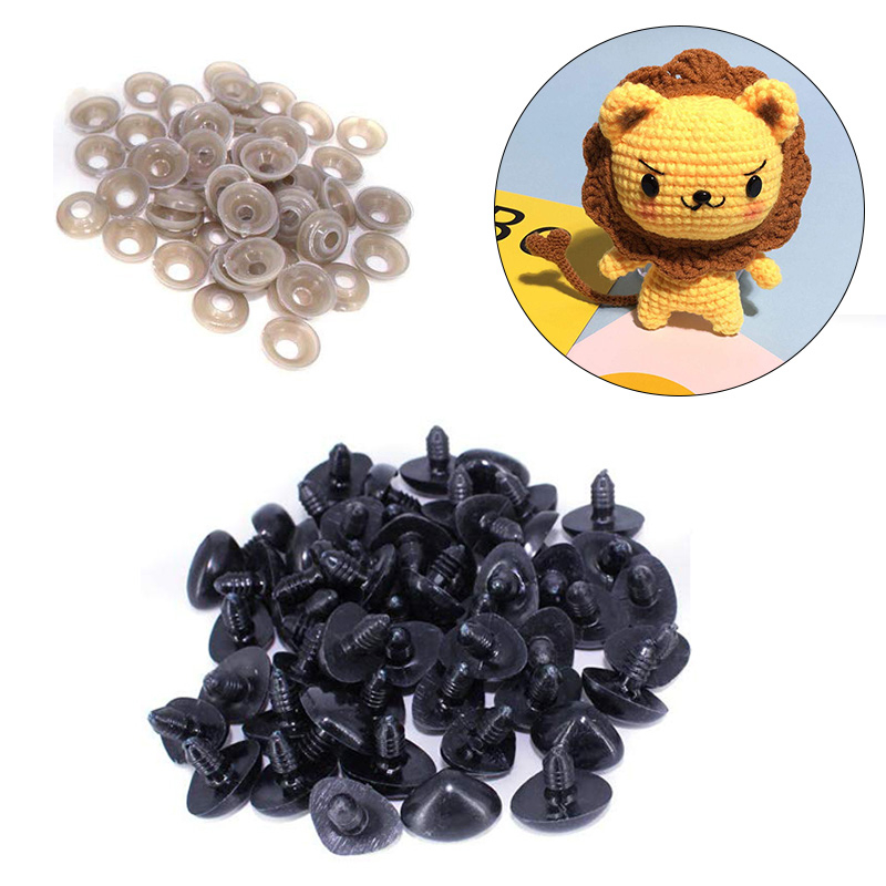 MIUSIE Mini Black Plastic Safety Nose 6mm-16mm Triangle For Doll Teddy Stuffed Animals Toys Dolls Accessories