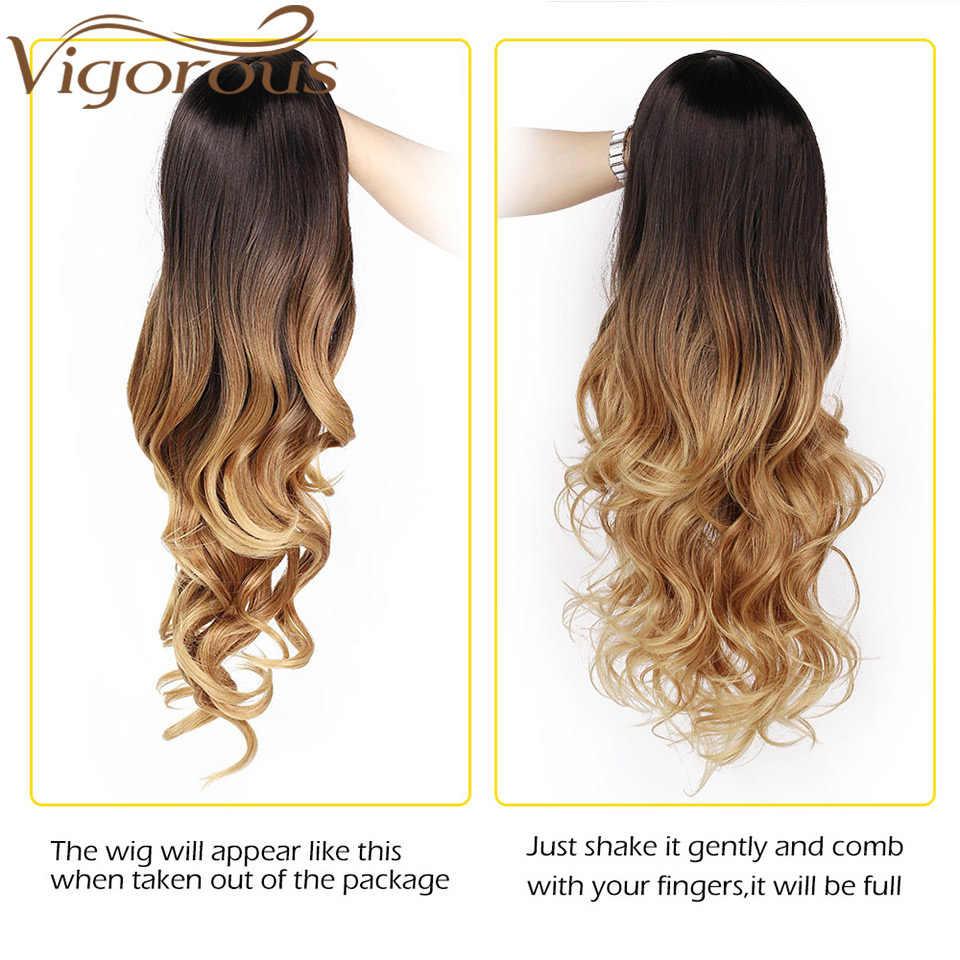 Güçlü uzun Ombre kahverengi sarışın dalgalı peruk doğal saç parçası sentetik peruk kadınlar için tutkalsız Cosplay isıya dayanıklı parti peruk
