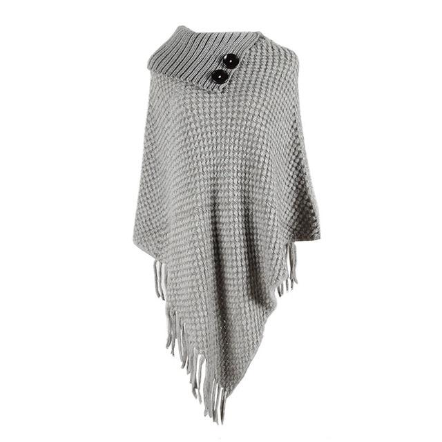 Korean Style Women Winter Furry Soft Loose Casual Tassel Cape Overcoat Knitted Sweater 5