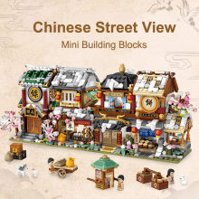 Loz cidade mini blocos de construção chinês loja rua arquitetura juguetes bloques diy loja tijolos brinquedos educativos presentes para crianças