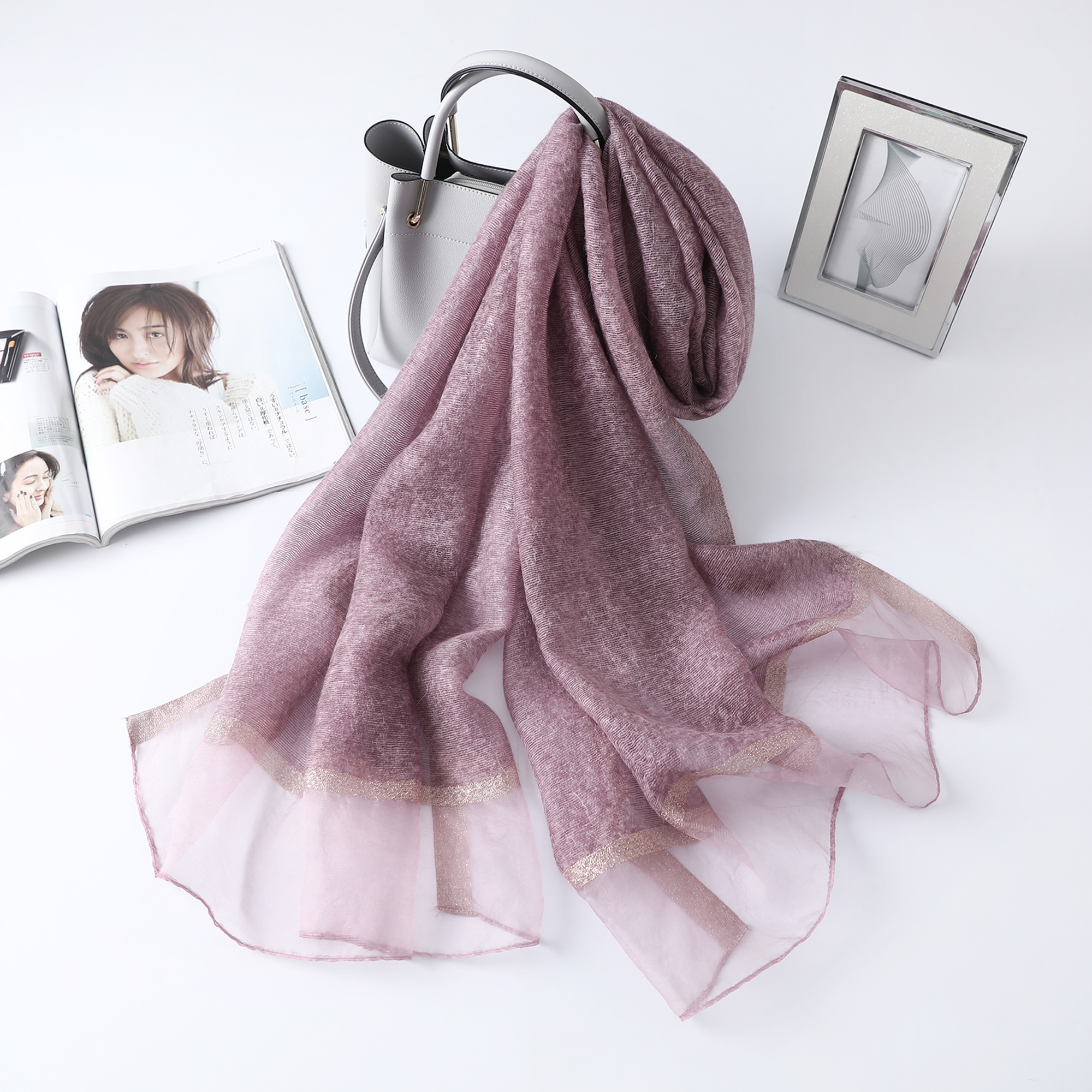 2019 New Arrivalsolid Silk Scarf For Women Winter Scarves And Shawl Lady Wraps Soft Pashimina Female Hijab