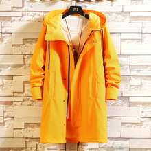 Autumn New Windbreaker Men Fashion Solid Color Casual Hooded Long Coat Man Streetwear Wild Loose Jacket Large Size M-6XL