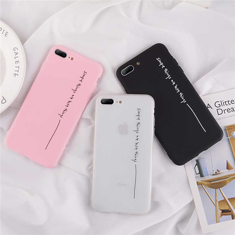 Funda otwn para iPhone 6 7 8 Plus X XR XS Max Simple Letter Line fundas para iPhone 11 Pro funda de silicona suave funda para teléfono