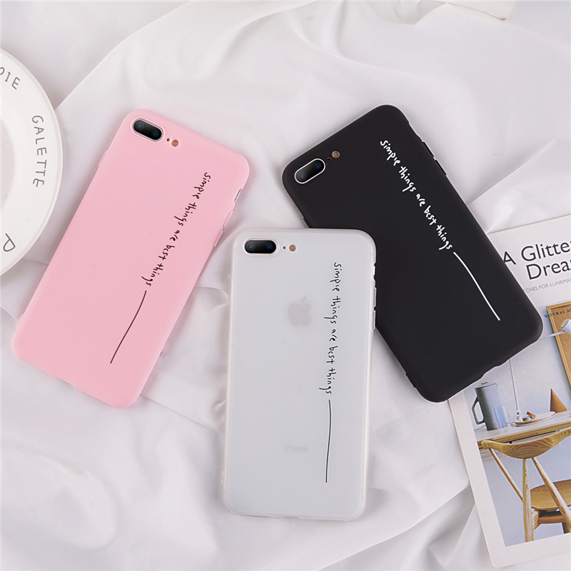 Ottwn Cover For iPhone 6 7 8 Plus X XR XS Max Simple Letter Line Cases For iPhone 6 6S Plus Soft Silicon Back Cover Phone Bag