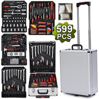 599pcs Tool Set Case Mechanics Kit Box Organize Castors Toolbox Trolley US New