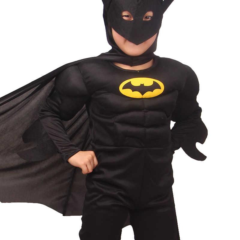 Carnevale di Halloween Muscolare Costumi di Batman Maschera Mantello Personaggio del Film Superhero Cosplay di Travestimento Da Sera Superman Ruolo dress up