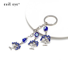 EVIL EYE Alloy Tree of Life Pendant Keychain Silver Color Key Chain Holder Car Keyring Fashion Jewelry for Women Girls EY2670 50pcs zinc alloy plating silver angel girl charm rotating lobster keychain key chain fit fashion jewelry findings for women f551