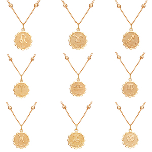 New Fashion Constellation Necklace Twelve Constellations Women Chokers Necklaces Pisces Aries Emboss Round Pendant Jewelry