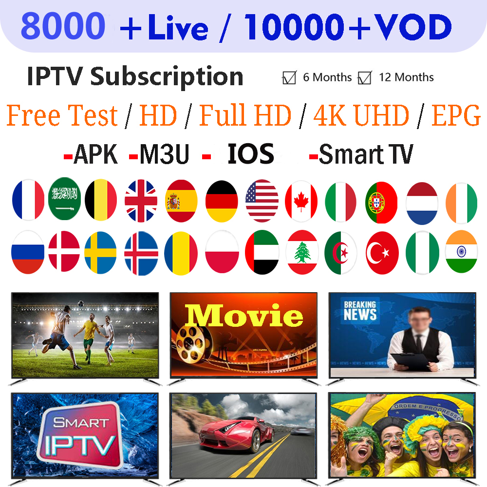 HD IPTV Subscription 8000+ Channel/VOD  French Spain UK Dutch Portugal/ EUROPE FOOTBALL/ADULT 18+ For IOS/Android/ Smart TV/ M3u