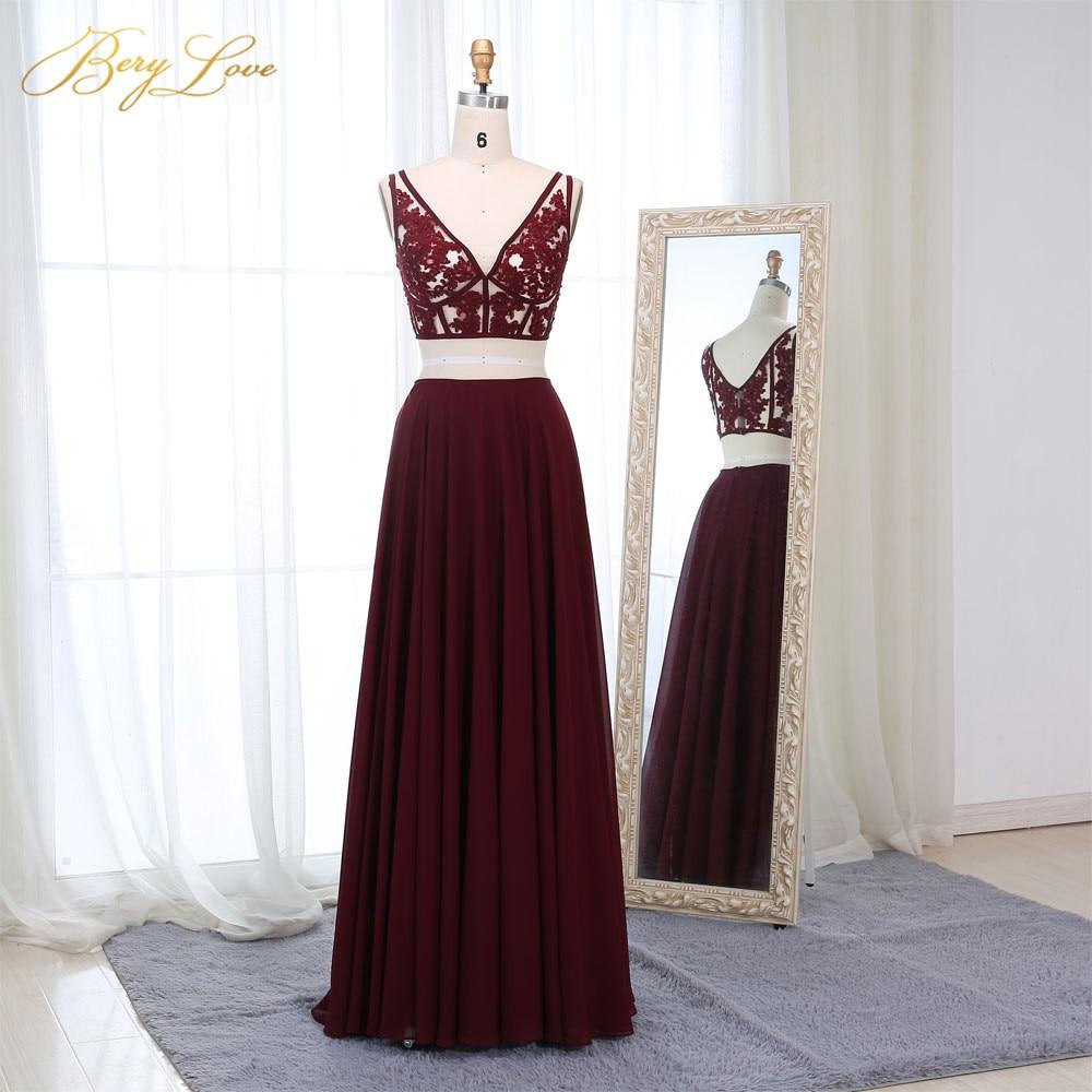 BeryLove Sexy bourgogne deux pièces robes de bal 2019 court corsage dentelle Appliques robes de bal sangles cou robe de grande taille pour le bal