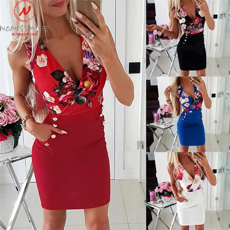 Women short sleeves V neck patchwork zipper buttons bodycon OL party mini dress