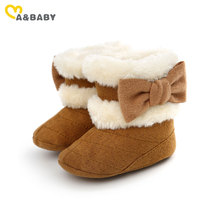 Ma&Baby 0-12M Cute Bow Baby Girls Snow Boots Autumn  Winter Warm Plush Baby Shoes Solid Boots