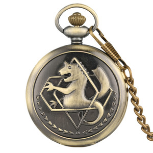 Hot Anime Cartoon Fullmetal Alchemist Pocket Watches Vintage Cosplay Necklace Pendant Clock Birthday Gifts for Men Women Kids