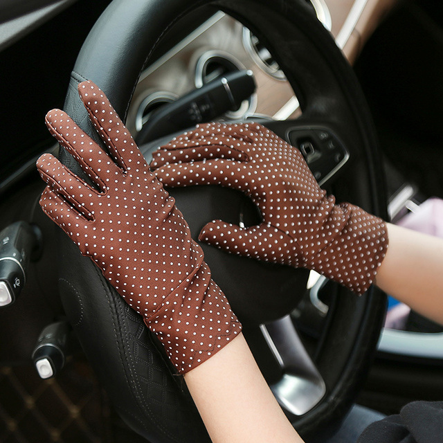 1 Pair New Fashion Sunscreen Wrist Gloves Dot Elastic Mittens Women Gloves Knitted Fabric Vintage Mittens For Drive Wholesale 5