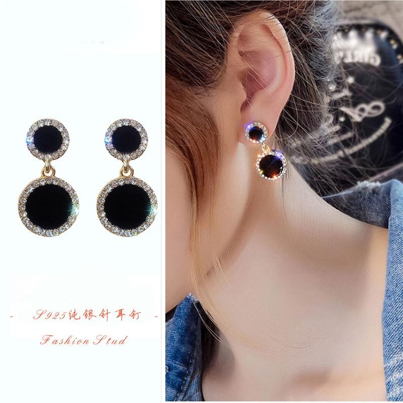 Trend Korean Black Square Rhinestone Earrings 2020 Fashion Crystal Geometry Female Pendant Earrings Jewelry