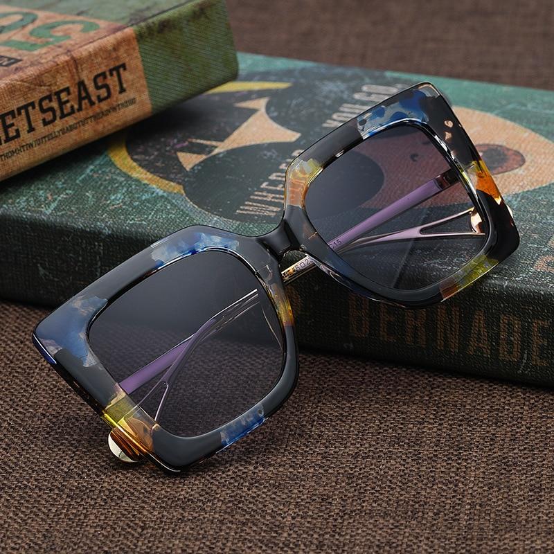 Vintage Übergroßen Sonnenbrille Frauen Luxus Marke Quadrat Sonne Gläser Weibliche Retro Floral Mode Designer Gradient Oculos De Sol