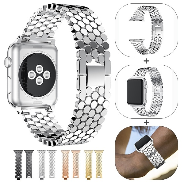 Luxury Scales Shape Stainless Steel Apple Watch Band Replacement Strap For Apple  Watch Series 5 4 3 38MM 40MM 42mm 44MM Watchbands  - AliExpress
