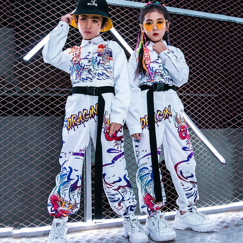 NEW! Children'S Jazz Dance Costumes Boys And Girls Tide Hip-Hop Handsome Long Sleeved Jumpsuit Street Performance Clothes DL5020