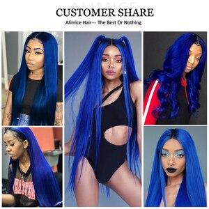 Image 5 - Alimice Ombre สีฟ้าตรงมนุษย์ผมสาน 3/4 ชุดพร้อมฝาปิด T1b/สีฟ้า Remy Hair Hair Ombre กับปิด