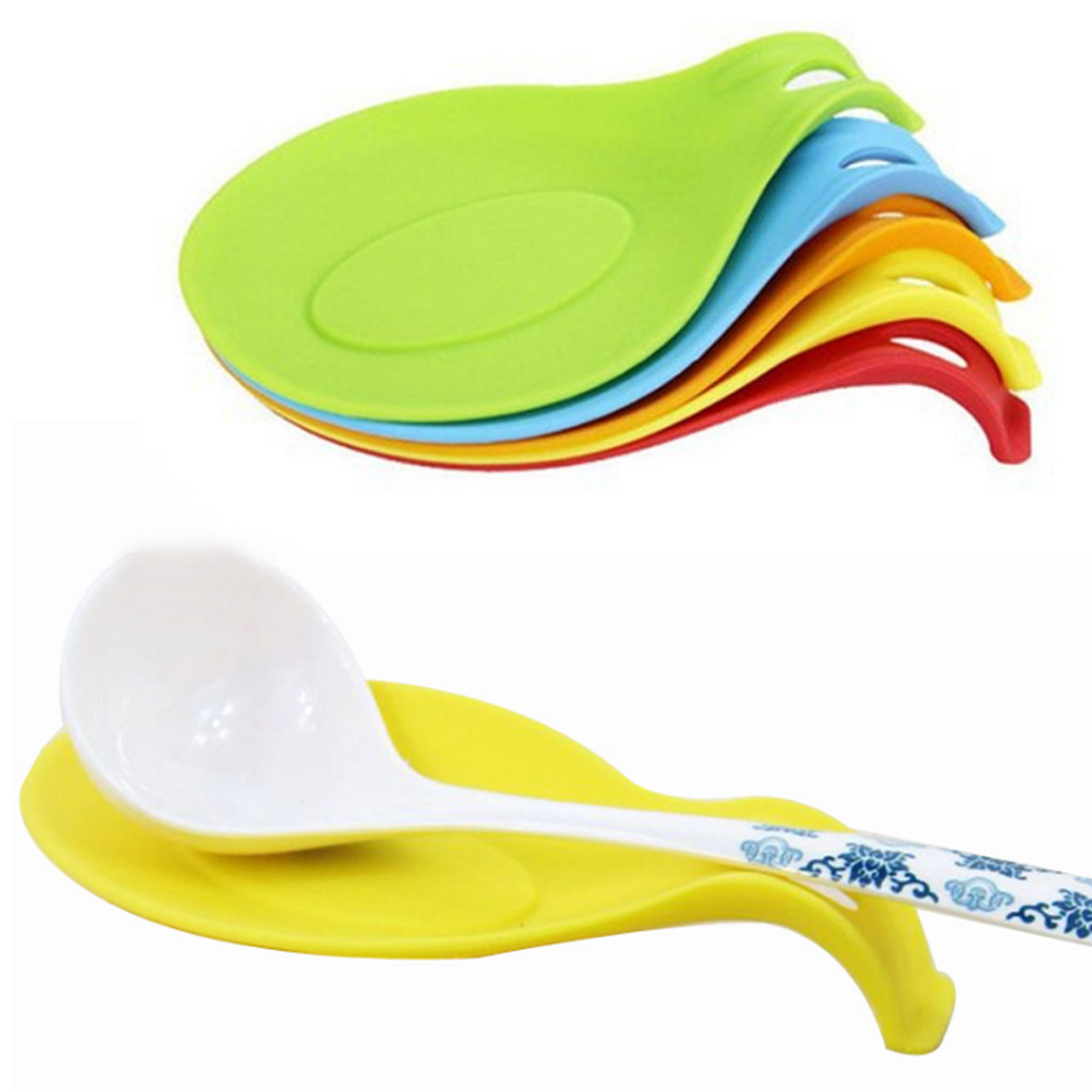 High Temperature Resistant Silicone Soup Spoon Mat Anti-Scald Spoon Holder Pad Kitchen Tool 1pc