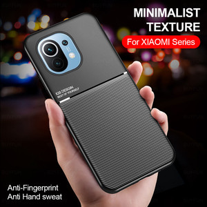 Image 1 - leather texture car magnetic holder phone case cover for xiaomi mi 11 lite 11lite mi11 light 5g silicone bumper shockproof coque