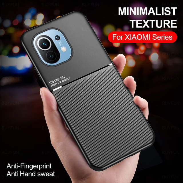 leather texture car magnetic holder phone case cover for xiaomi mi 11 lite 11lite mi11 light 5g silicone bumper shockproof coque