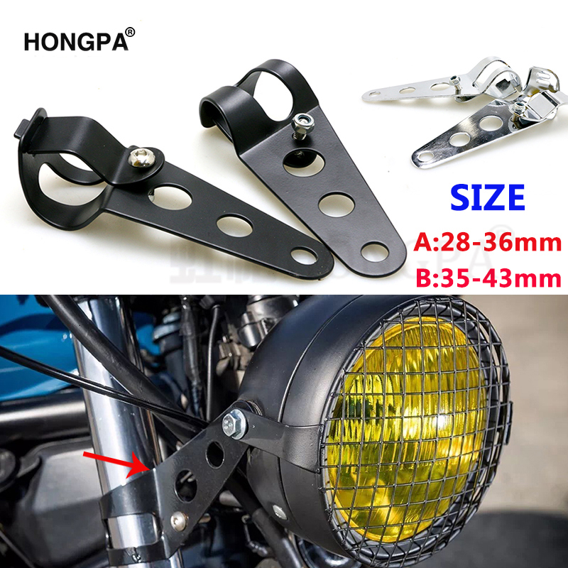 Clamp-Holder Mounting-Bracket Fork Headlight Bobber Chopper Cafe Racer Motorcycle Universal title=