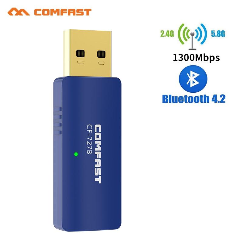 1300Mbps 5GHZ 2.4Ghz Dual Band USB Wireless Wifi Adapter Bluetooth 4.2 Wi-fi Network LAN Card PC Wifi Receiver Wifi Antenna