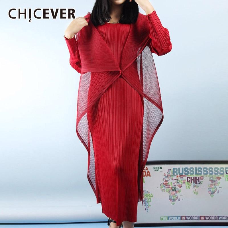 CHICEVER Vintage Patchwork Mesh Women's Dress V Neck Long Sleeve High Waist Slim Maxi Dresses Female 2020 Fashion Clothes New