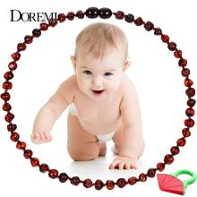 DOREMI Natural Raw Baltic Amber Teething Necklace for Babies Certificated Oval Jewelry with The Highest Quality