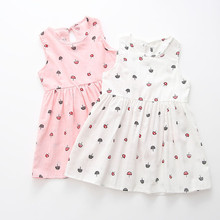 Girls Dress Toddler Girls Summer Princess Dress Kids Baby Party Wedding Sleeveless Dresses 2-7 Years baby girls clothes cheap Print REGULAR Casual Flowers Fits true to size take your normal size Cotton Above Knee Mini A-Line baby girl dress baby girl clothes