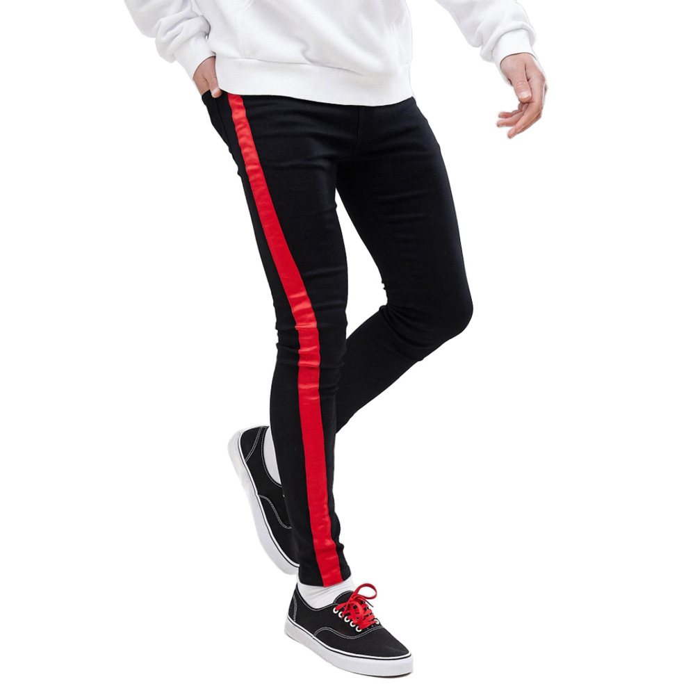 Fashion Stripe Design Slim Men's Jeans Black Red Color Skinny Men's Jeans Super Cool Slim Fit Jeans For Men Winter Jeans For Men