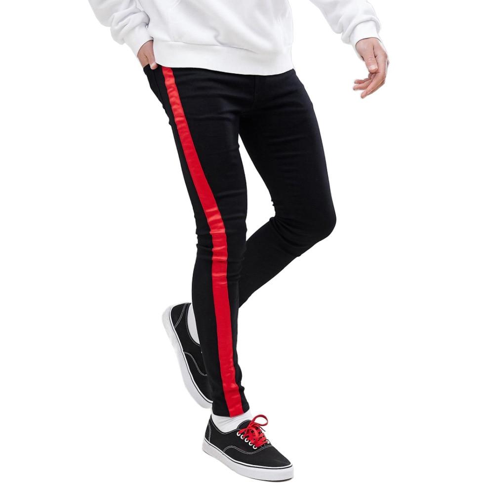 Fashion Stripe Design Slim Men's Jeans Black Red Color Skinny Men's Jeans Super Cool Slim Fit Jeans For Men Winter Jeans For Men