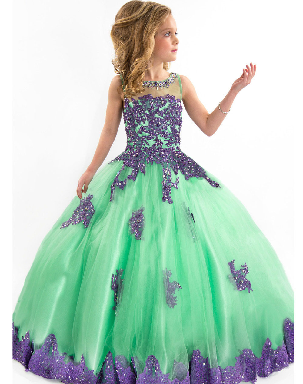 SUN536 Mint Green New 2014 Communion Sleeveless Keyhole Back Ball Gown Puffy Girls Pagent Dresses Free Shipping With Embroidery