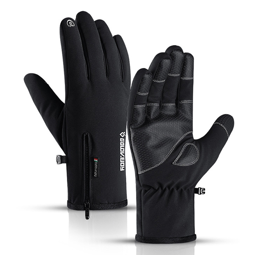 Winter Waterproof Gloves Windproof Anti-Slip Zipper Gloves Men Women Riding Skiing Warm Fluff Comfortable Gloves Thickening