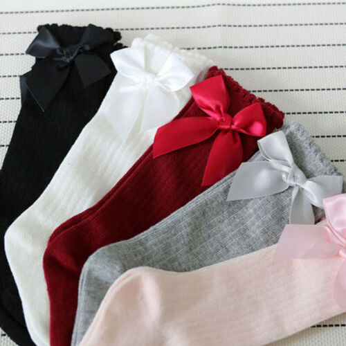 Little Girls Tights Cotton Warm Silk Stockings Toddler Kids Baby Girl Solid Color Bowknot Knee High Socks For 0-4Y Girls