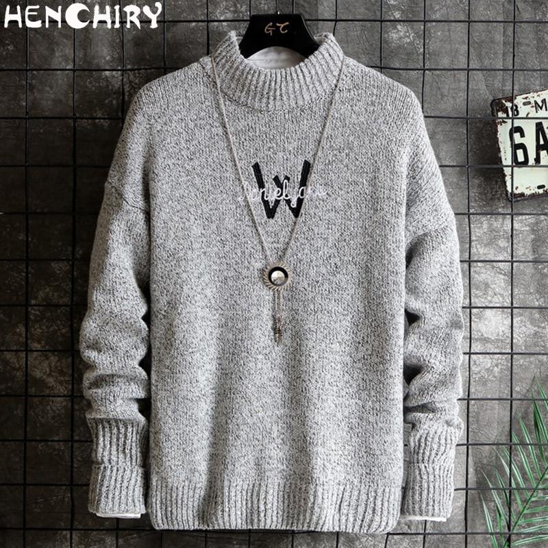 HENCHIRY New Autumn Winter Oversize Men'S Sweater 2019 Sweaters For Men Sweater Men Lattice Slim Fit Men's Shirt Brand Knitte M4