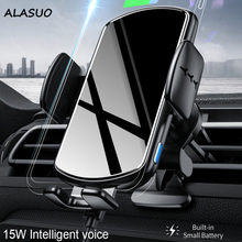 15W QI Wireless Charger Car Phone Holder for iPhone 12 11 pro Fast Charging Smart Voice Auto Clamp phone holder for Samsung S20