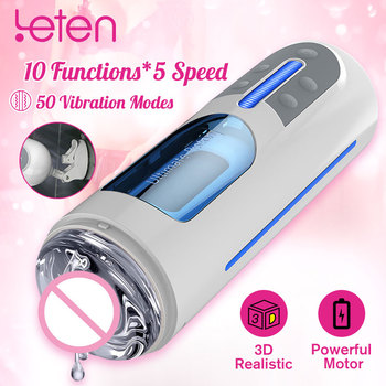 Leten A380 Automatic Hands Free Masturbate Cup Pussy Lubricant Thrusting Vagina USB Charge Male Masturbator Sex Toys For Men