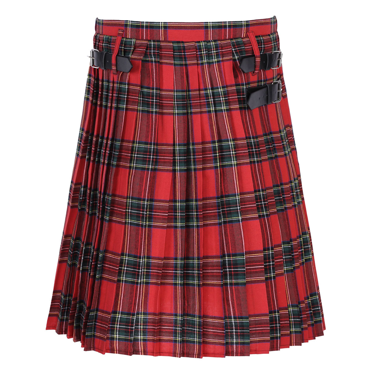 Men Adults Elastic Mid Waist Traditional Scottish Highland Tartan Utility Kilt Plaid Skirt With Buckle Straps Male Costume