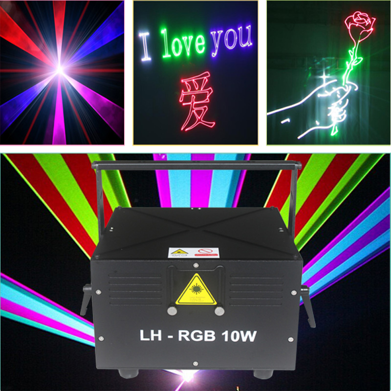 Free Shipping 10W RGB Laser Animation Scanner Projector ILDA DMX Dance Bar Xmas Party Disco DJ Effect Light Stage Lights Show