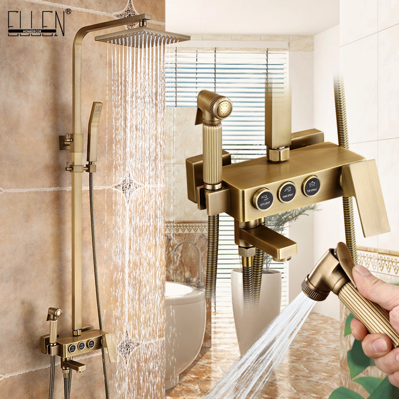 Antique Bronze Rain Shower Set With Bidet Spray Bathroom Rainfall Shower Faucet Soild Brass With Hand Shower ELS4102