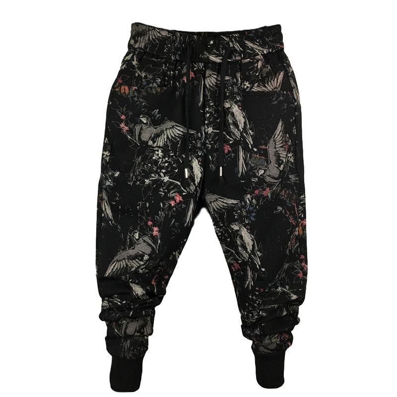 Idopy Fashion Men`s Harem Joggers Printed Ankle Cuffed Elastic Waist Drawstring Street Hip Hop Pants For Man Plus Size 29-42
